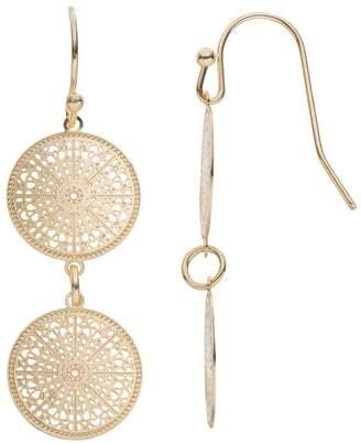 Lauren Conrad Filigree Double Disc Drop Earrings