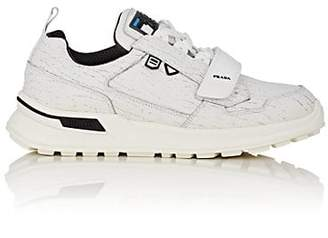 Prada Men's Rubber-Strap Cracked Leather Sneakers - White