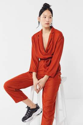 Urban Outfitters Brynn Velvet Belted Surplice Jumpsuit