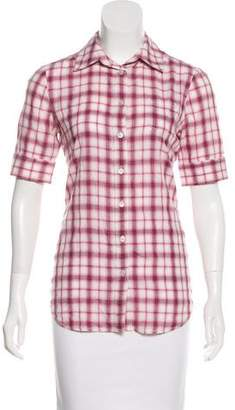 Elizabeth and James Short Sleeve Button-Up Top