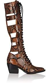 Chloé Women's Python-Print Leather Knee Boots-Brown