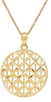 Lord & Taylor 14K Gold Woven Disc Pendant Necklace