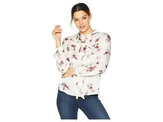 Vince Camuto Long Sleeve Ruffle Front Delicate Bouquet Blouse