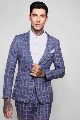 boohoo Summer Check Skinny Fit Suit Jacket