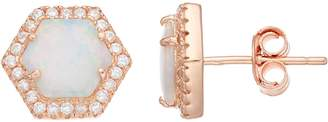 18k Rose Gold Over Silver Lab-Created Opal & Cubic Zirconia Hexagon Stud Earrings