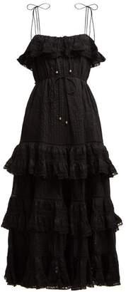Zimmermann Juniper Pintuck Pleated Cotton Dress - Womens - Black