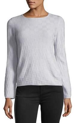 Armani Collezioni Crewneck Long-Sleeve Check Cashmere Sweater