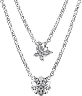 Laura Ashley Sterling Silver 1/5 Carat T.W. Diamond Flower & Butterfly Swag Necklace $1,650 thestylecure.com