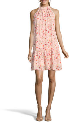 Nicole Miller Studio Mock-Neck Floral Trapeze Dress