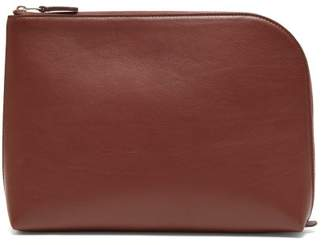 The Row Square Pochette Large Leather Clutch - Womens - Tan