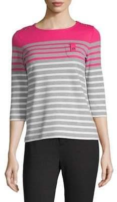 Karen Scott Petite Three-Quarter-Sleeve Striped Top