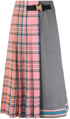 VIVETTA tartan print half pleated skirt