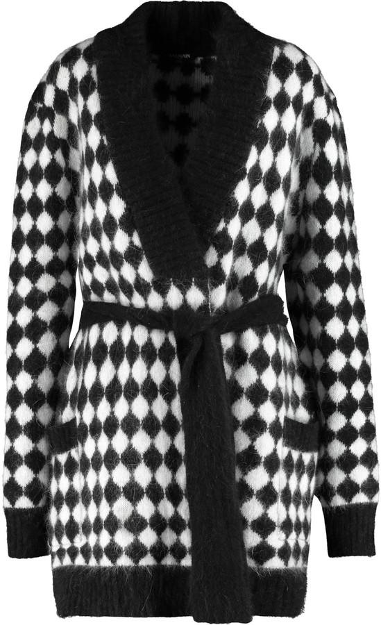BalmainBalmain Two-tone angora-blend cardigan