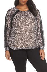 Vince Camuto Ditsy Floral & Crochet Detail Blouse