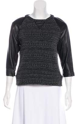 Gryphon Leather-Accented Knit Sweater