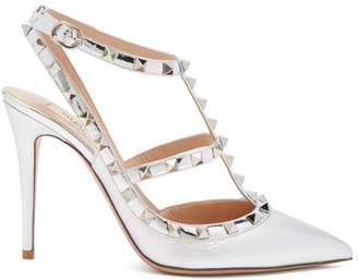 Valentino - Rockstud Metallic Point Toe Leather Pumps - Womens - Silver
