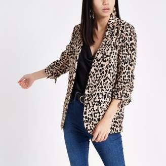 River Island Brown leopard print ruched sleeve blazer