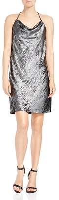 Halston Sleeveless Metallic Slip Dress