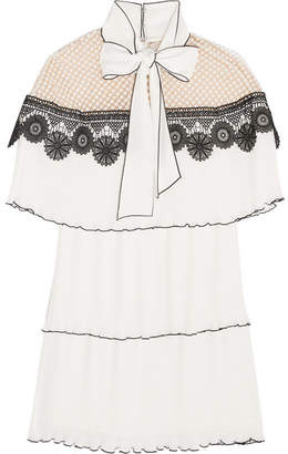 Self-Portrait - Pussy-bow Pleated Gazar And Guipure Lace Mini Dress - White $475 thestylecure.com