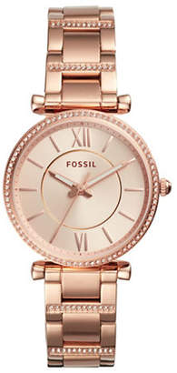 Fossil Analog Carlie Rose-Goldtone Stainless Steel Bracelet Watch