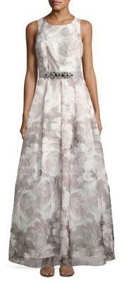 Eliza J Floral-Print Fit-and-Flared Gown $278 thestylecure.com