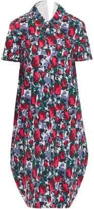 Marni Cutout Printed Cotton-poplin Shirt Dress