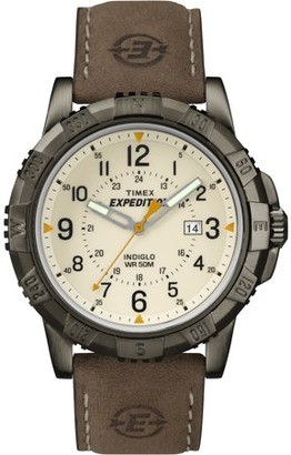 Timex Men's Expedition Rugged Metal Field Natural Dial Watch, Brown Leather Strap