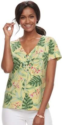 Caribbean Joe Women's Floral Woven Tee