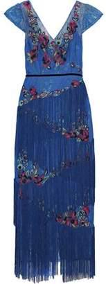 Marchesa Fringed Embellished Lace Midi Dress