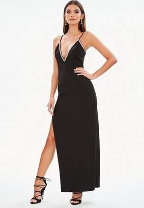 Missguided Black Diamante Trim Side Split Maxi Dress