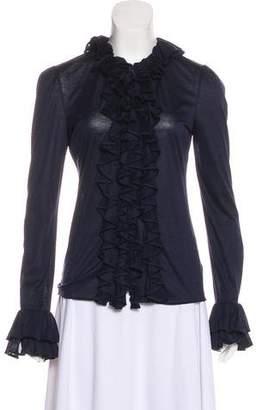 Ralph Lauren Purple Label Ruffled Long Sleeve Blouse