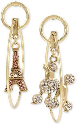 Betsey Johnson Gold-Tone Pave Poodle & Eiffel Tower Mismatch Orbital Drop Earrings