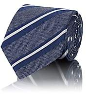Bigi Men's Diagonal-Striped Silk Jacquard Necktie - Lt. Blue