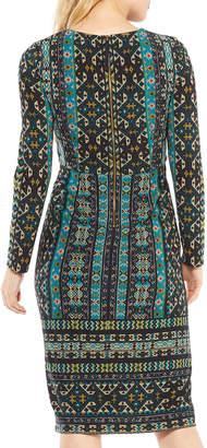 Maggy London Long-Sleeve Global-Tile Sheath Dress