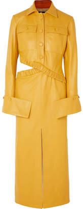 Rokh - Cutout Leather Maxi Dress - Mustard