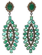 Silver Marquise Drop Earrings with Green Emerald & Full-Cut Diamonds