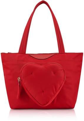 Anya Hindmarch Red Nylon Mini Chubby Heart E/w Tote Bag