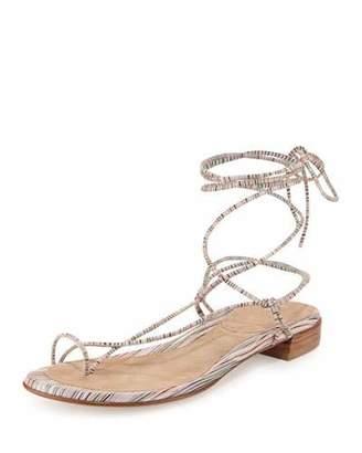 Stuart Weitzman Nieta Striped Lace-Up Sandal, Bisque Prism $335 thestylecure.com