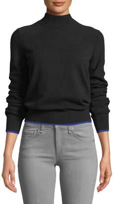 Rag & Bone Yorke Turtleneck Mesh-Stitch Sleeves Cashmere Sweater