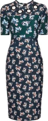 Yigal Azrouel Floral Scuba Short Sleeve Dress