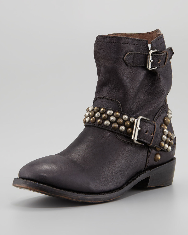 Ash Vicious Studded-Leather Motorcycle Boot, Black