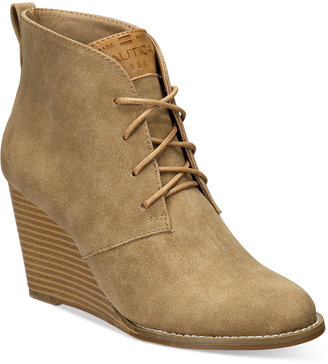 Nautica Women's Waterline Wedge Lace-Up Booties $69 thestylecure.com