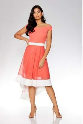 Quiz Coral And White Mesh Bardot Dip Hem Dress