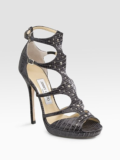 Jimmy Choo Mostyn Lizard-Embossed Sandals