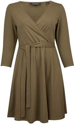 8e9ad08fd4f5 Dorothy Perkins Womens   Dp Curve Khaki 3 4 Sleeve Wrap Dress