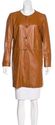 Neiman Marcus Leather Knee-Length Coat