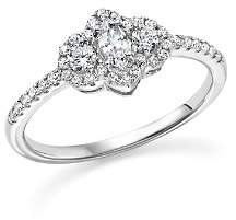 Bloomingdale's Diamond Marquise and Round Cut Center Ring in 14K White Gold, .50 ct. t.w. - 100% Exclusive