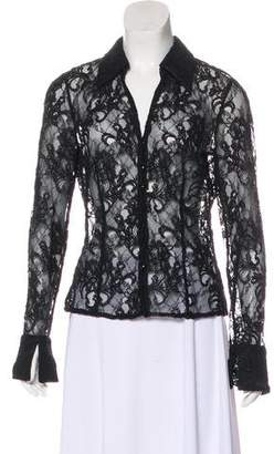 Carmen Marc Valvo Lace V-Neck Blouse