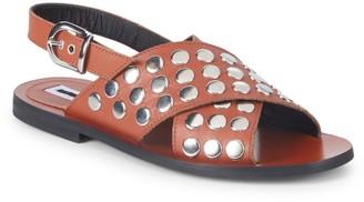 McQ Metallic Leather Slingback Sandals