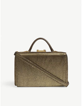 Mark Cross Metallic Moire Gold Timeless Grace Mini Leather Box Clutch Bag